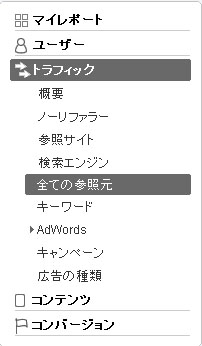 Google Analytics のサイドバー
